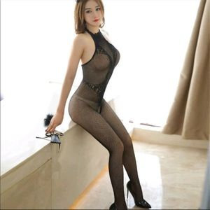 Other - Sexy open crotch black Bodysuit  lingerie fishnet
